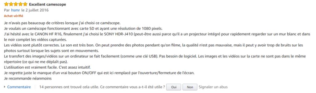 avis internaute camescope numérique connecté Sony HDR-PJ410