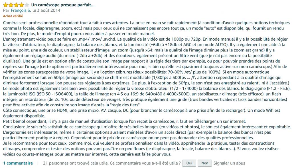 avis internaute camescope numérique JVCGC-PX100BE